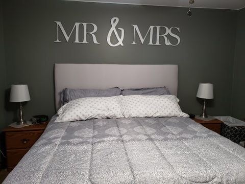 Mr & Mrs Large Wood Cutout for Above Bed