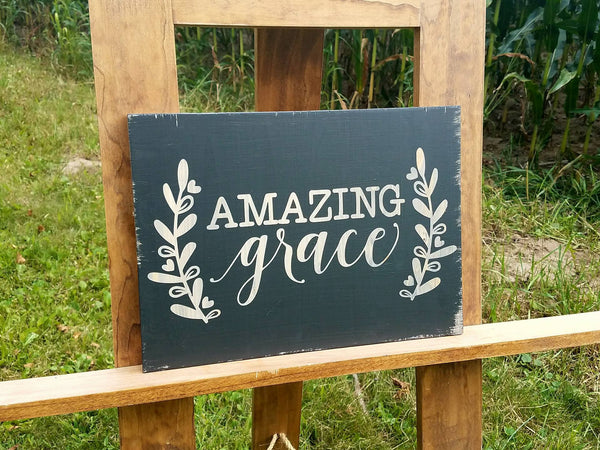 Amazing Grace Painted Farmhouse Sign | Painted Wood Sign