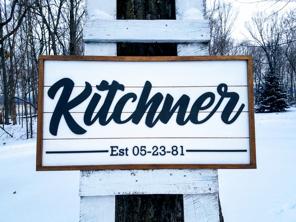 Personalized Raised Lettering Last Name Sign on Shiplap