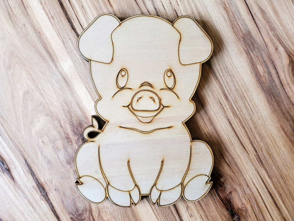 DIY Barn Animal Wood Cutout Paint Kit | Pig Sign Paint Kit | Kids Paint Kit