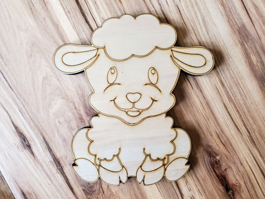 DIY Barn Animal Wood Cutout Paint Kit | Sheep Sign Paint Kit | Kids Paint Kit