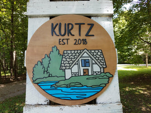 Round Personalized Name and Established Date Sign with Raised Lettering and Cabin Scene