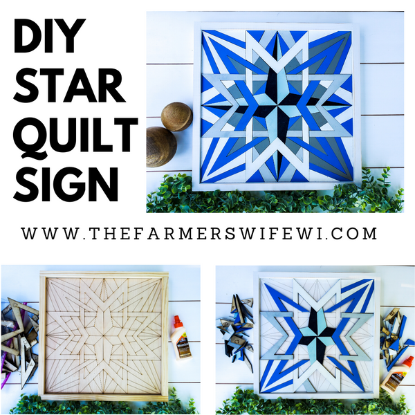 DIY Wood Star Quilt Sign | DIY Raised Puzzle Sign