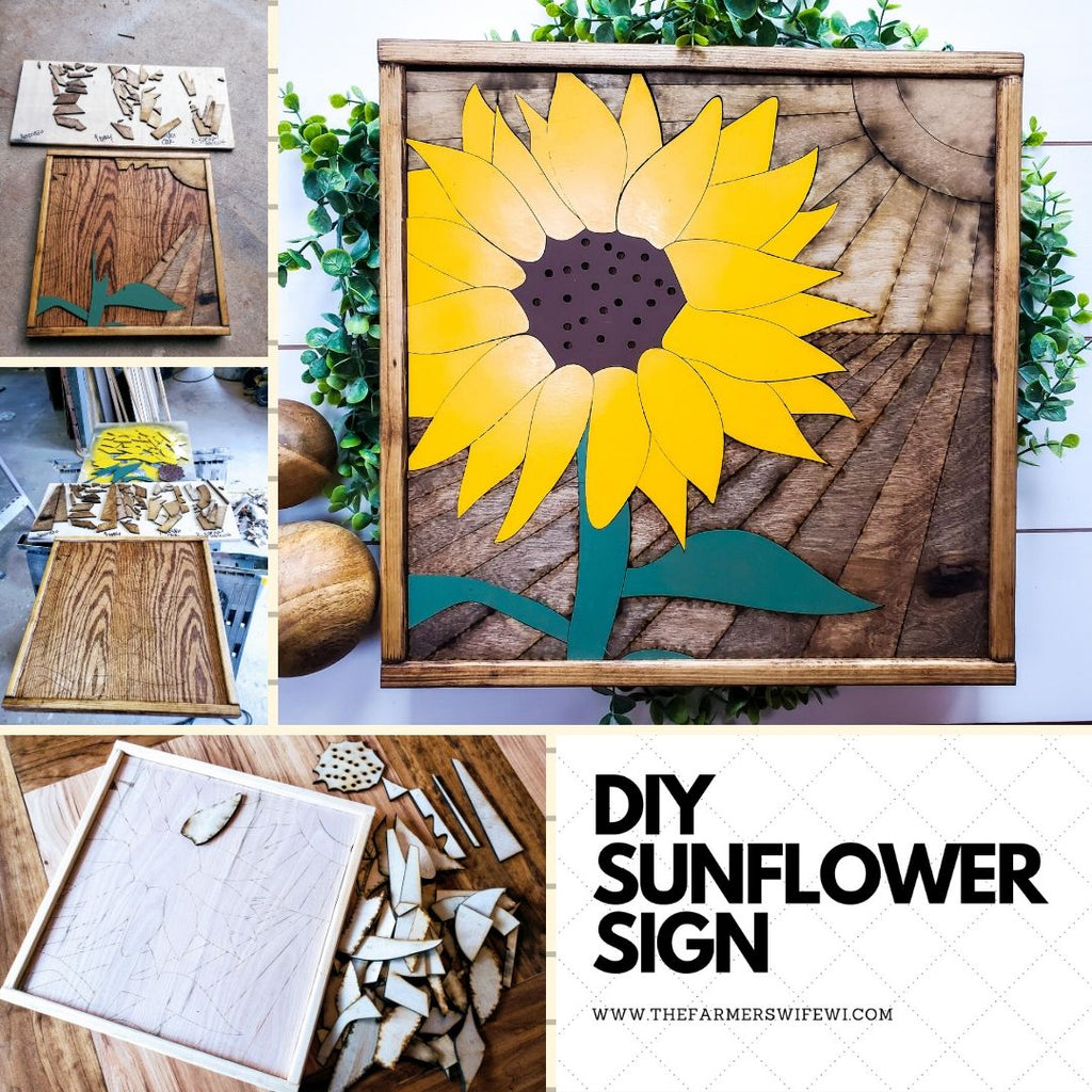 DIY Wood Sunflower Sign | DIY Raised Puzzle Sign