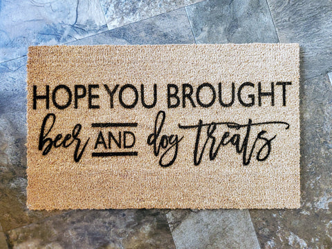 Beer and Dog Treats | Funny Coir Door Mat