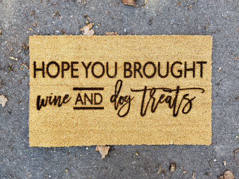 Wine and Dog Treats | Funny Coir Door Mat