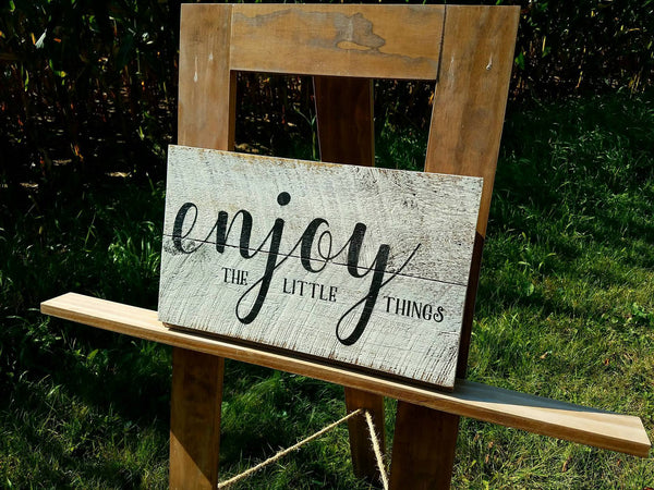 Enjoy the Little Things Rustic Barn Board Sign