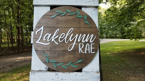 Personalized 3D Cutout Nursery Decor Sign with Child's Name and Sage Wreath
