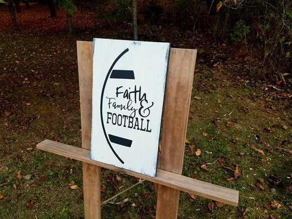 Faith, Family and Football Farmhouse Wood Wall Art Sign