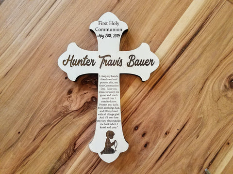 Personalized First Communion Gift | Personalized Wood Cross