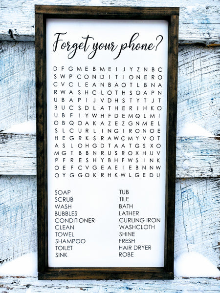 Bathroom Sign | Forget Your Phone? | Crossword Puzzle