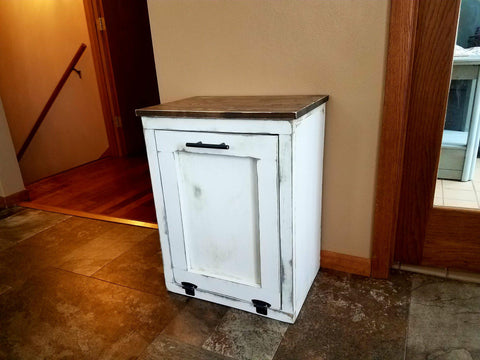 Tilt out Rustic Farmhouse Trash Garbage Can