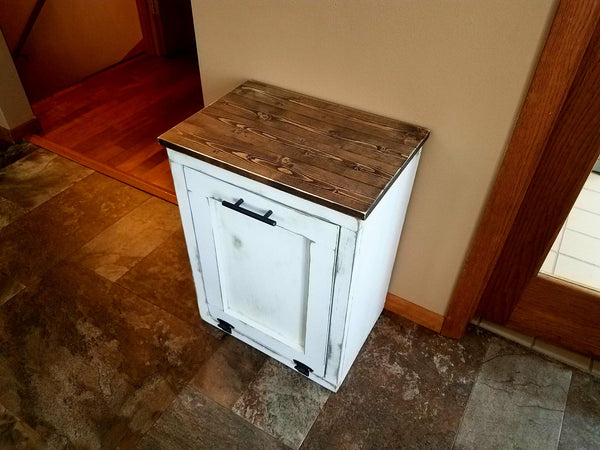 Tilt out Rustic Farmhouse Trash Garbage Can - LOCAL PICK UP ONLY