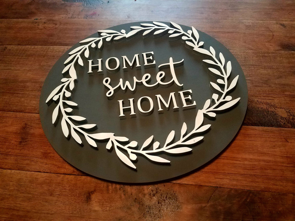 Home Sweet Home Round 3D Farmhouse Sign | Laser Cut Wood ...