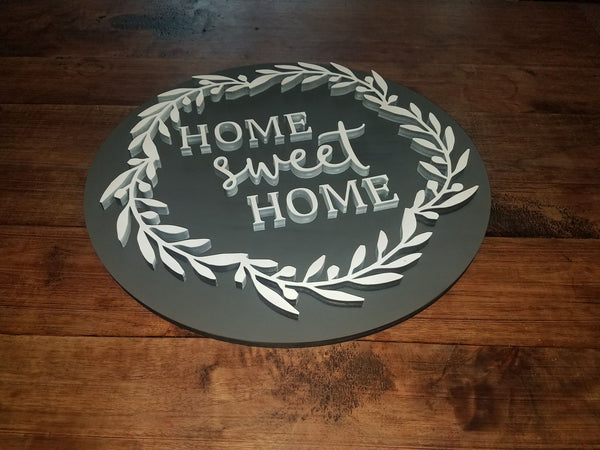 Home Sweet Home Round 3D Farmhouse Sign | Laser Cut Wood Sign