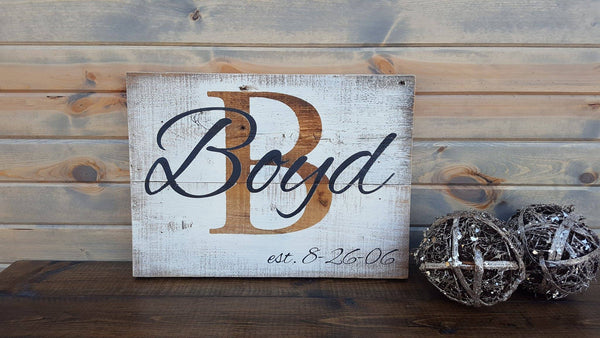 Personalized Last Name Rustic Established Barn Board Sign ...