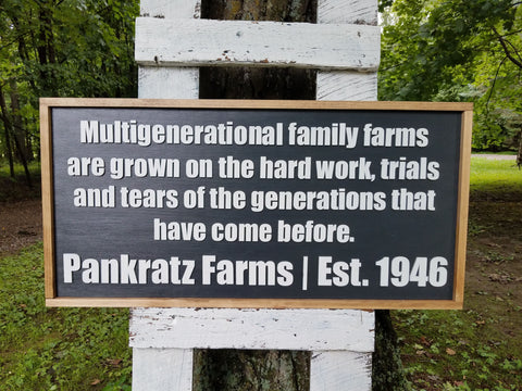 Personalized Multigenerational Family Farm Hard Work Sign | Raised Lettering Farmhouse Sign