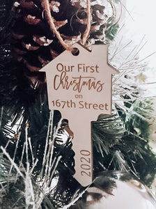 Farmhouse New Home Christmas Ornament | Cut Out Personalized House Key Ornament | First Year in New Home