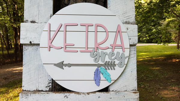 Personalized 3D Cutout Nursery Decor Sign with Child's Name and Arrow