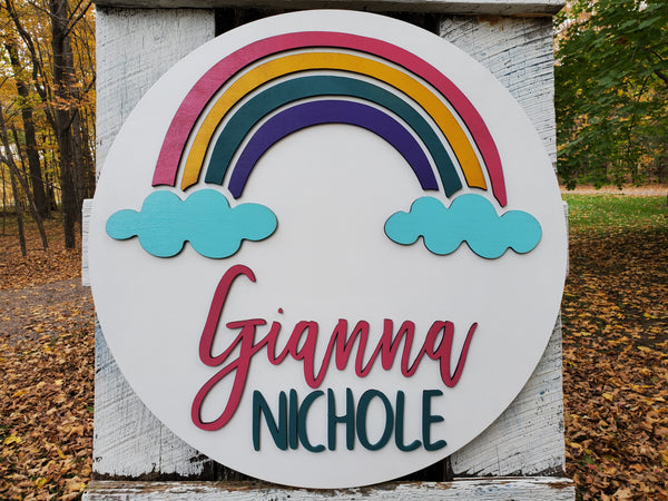 Personalized 3D Cutout Decor Sign with Child's Name and Rainbow