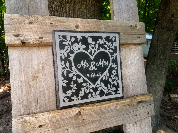 Personalized Mr. and Mrs. Established Slate Sign