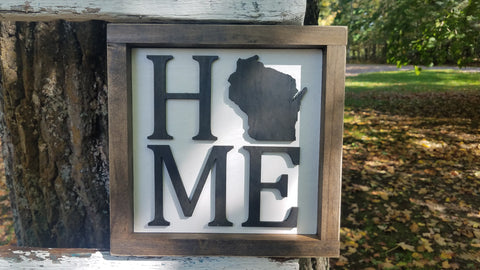 Square Sign with 3D Cutout Lettering | Home - State