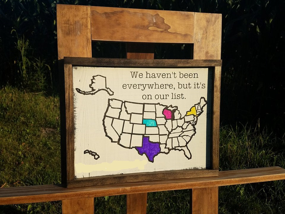 Personalized Usa Map.Personalized Colorable Wooden Usa Travel Tracker Map With Family