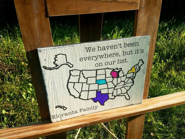 Personalized Colorable Wooden USA Travel Tracker Map with Family Name