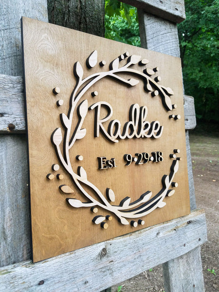 Personalized Last Name with Established Date Raised Lettering Wood Sign
