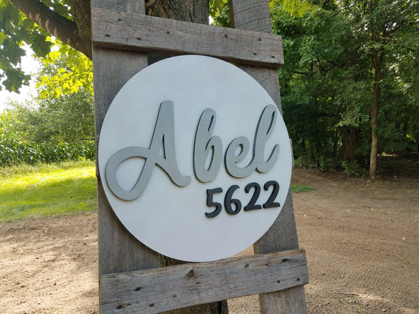 Custom Round 3D House Number Last Name Decor Cutout Sign