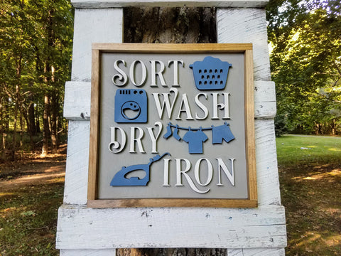 Framed Laundry Room 3D Farmhouse Sign | Laser Cut Wood Sign
