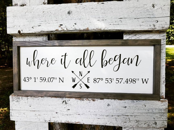 Handmade Custom Sign | Where It All Began Longitude and Latitude Coordinates