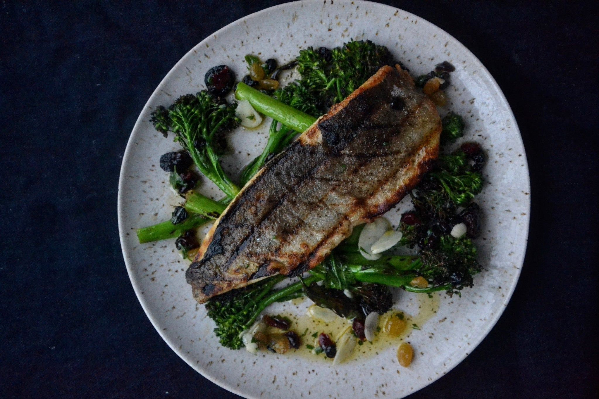 GRILLED TROUT WITH BROCCOLI RABE