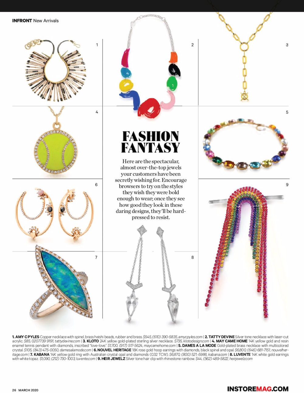 Love Love diamond and enamel tennis pendant InStore Magazine 2020 March