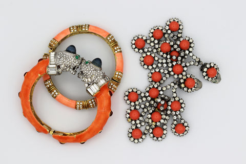 KJL Vintage 1960s coral bangles and earrings
