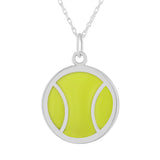 sterling and neon green enamel tennis ball pendant necklace