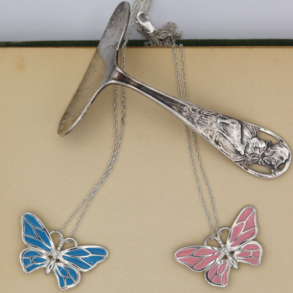 baby gift pink or blue enameled butterfly necklaces pendants