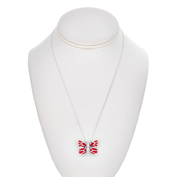red enamel medium butterfly necklace