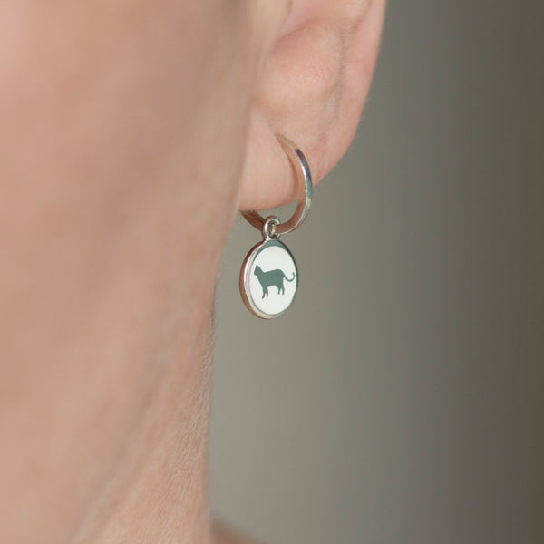 cat charm earring in white enamel on hoops