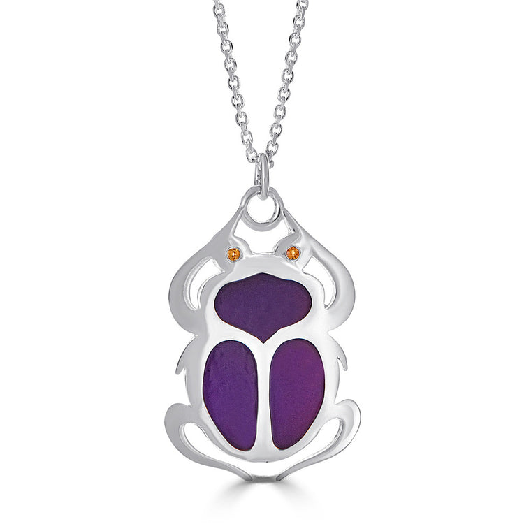 Silver Scarab Enamel Pendant Necklace with Citrine Eyes