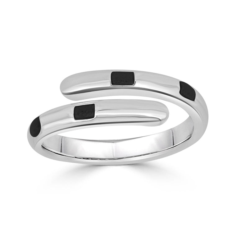 Striped Enamel Wrap Ring
