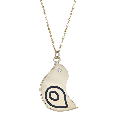 enameled bird pendant layered with name necklace
