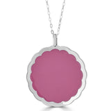 double sided enamel pink medallion necklace