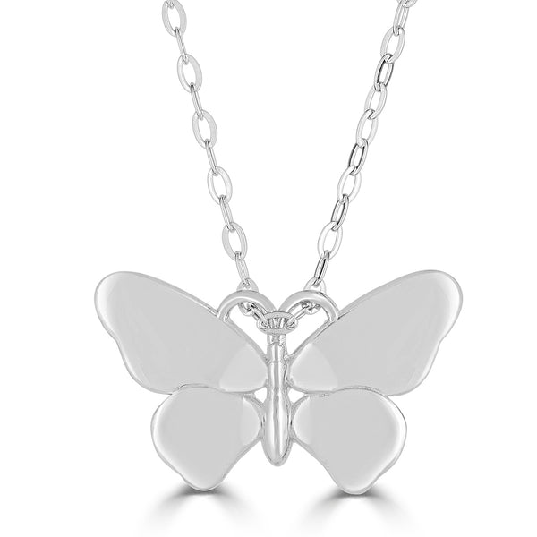 "Small ""Butterflies Are Free"" Necklace in Sterling Silver or 14K Gold"