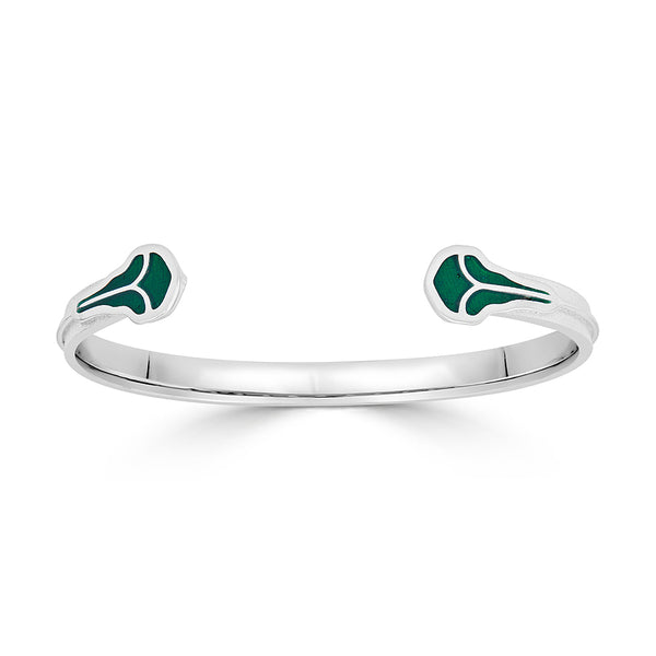 Silver Cuff Bracelet with Vine Design and Green Enamel Leaves
