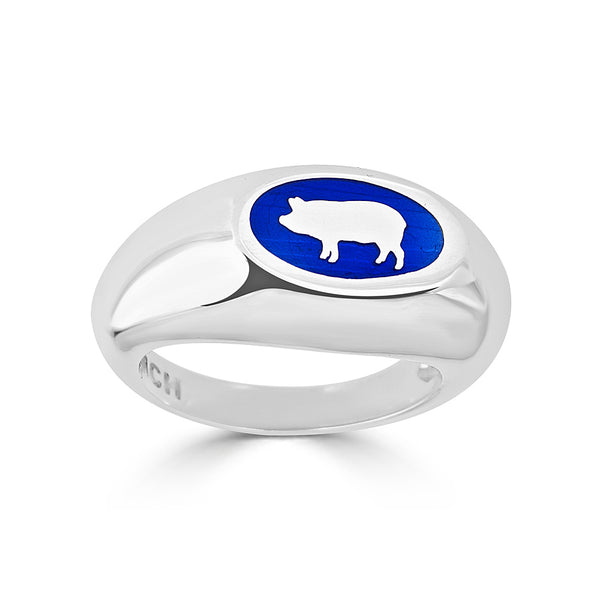 blue enamel and silver pig silhouette signet ring