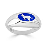 blue enamel and silver cat silhouette signet ring