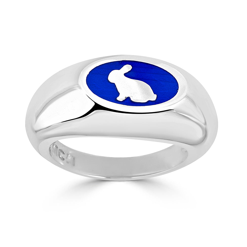 blue enamel and silver rabbit silhouette signet ring