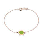 pear shaped lime green enameled chain bracelet 14k gold