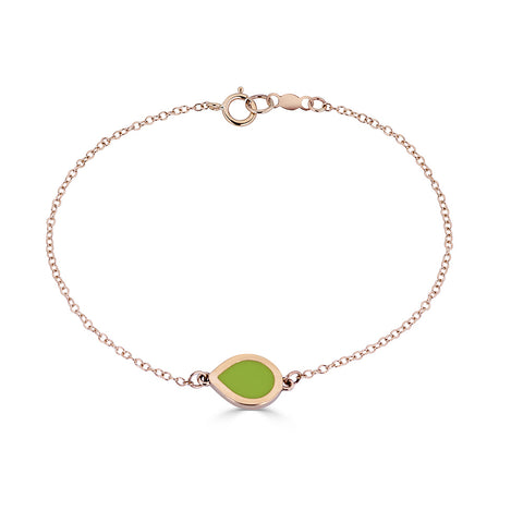 green enamel pear shaped station bracelet on chain